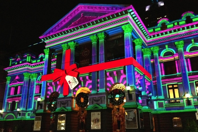 Melbourne Town Hall Christmas lights - Melbourne Town Hall Christmas Lights ArchitectureAU