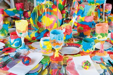 Designer Dale Hardiman's table appeared like colourful globules of bubblegum and was made from a biodegradable and food- safe polyester plastic.