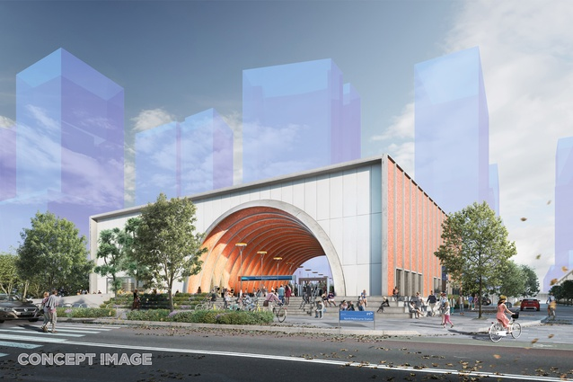 The design for North Melbourne station by Hassell, Weston Williamson and Rogers Stirk Harbour and Partners.