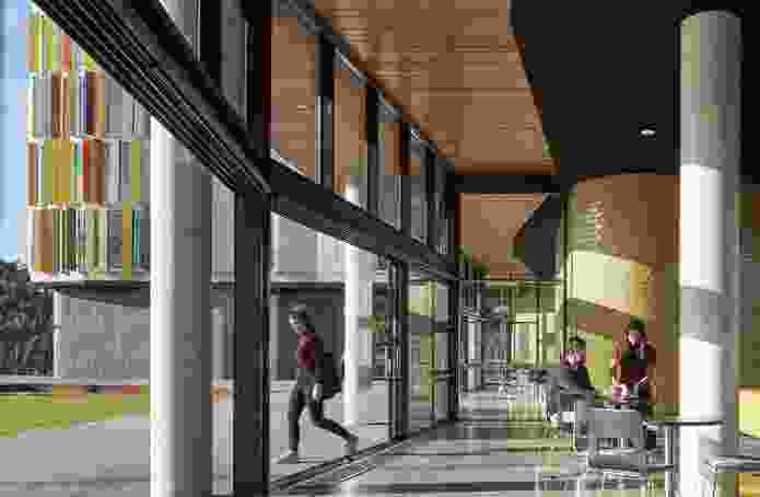 The ground floor area of the Turner Building at Monash University by Jackson Clements Burrows Architects has a connection, both visually and physically, to student life.