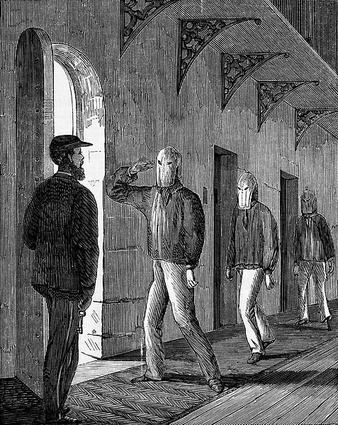 "Prisoners of Pentridge Prison wearing hoods under the ""Silent System"". Wood engraving, 1867."