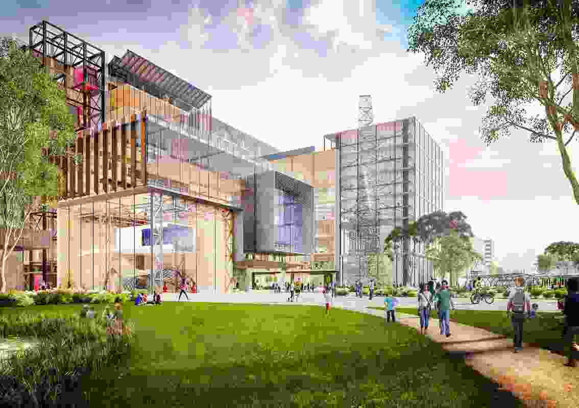Preliminary concept render for the University of Melbourne's Fishermans Bend campus.