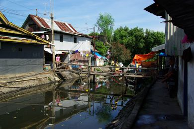 An urban informal settlement in Indonesia.