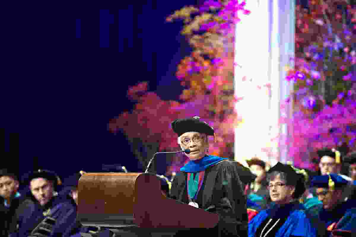 Giving the Welcome Speech at the University of Washington Convocation in 2015.