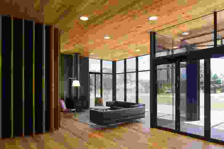 Full height glazing allows views in and out of the hall.