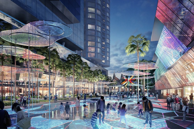 The interactive digital carpet in the Parramatta Square public domain by James Mather Delaney Design, Taylor Cullity Lethlean, Tonkin Zulaikha Greer and Gehl Architects.