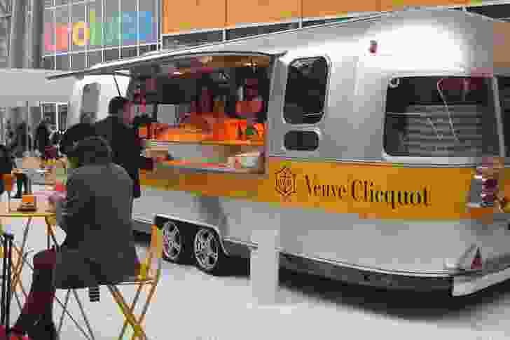 Veuve Clicquot's refreshment stand – a vintage-style chrome bus.
