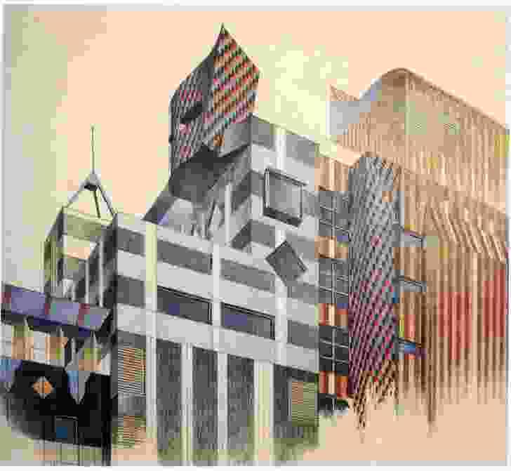 Corrigan's sketch of Building 8, RMIT University, Melbourne by Edmond and Corrigan, 1994.
