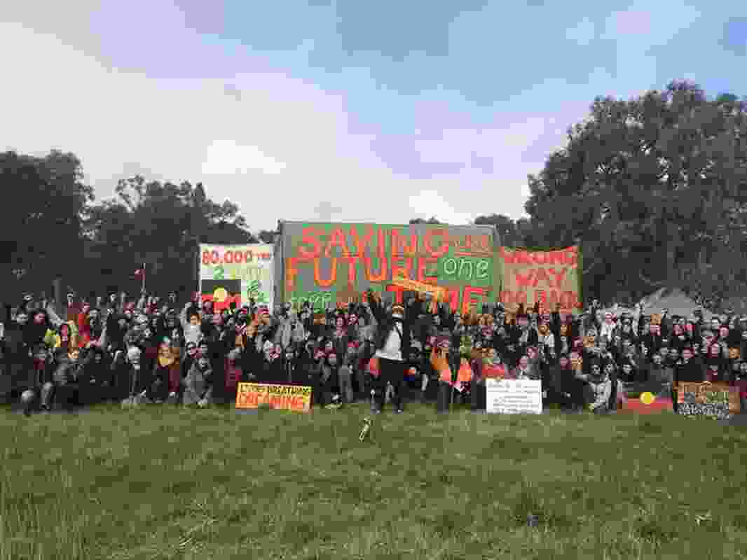 Hundreds of supporters gather at Djab Wurrung embassy camp on Wednesday, August 21.