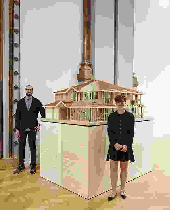 Otherothers' David Neustein (left) and Grace Mortlock (right) with a 1:10 scale model of Offset House.