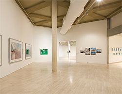 Installation view. Works from left to right are by Lucas Jodogne, Stephen Bush, Narelle Jubelin, Sam Durant and Kate McMillan.