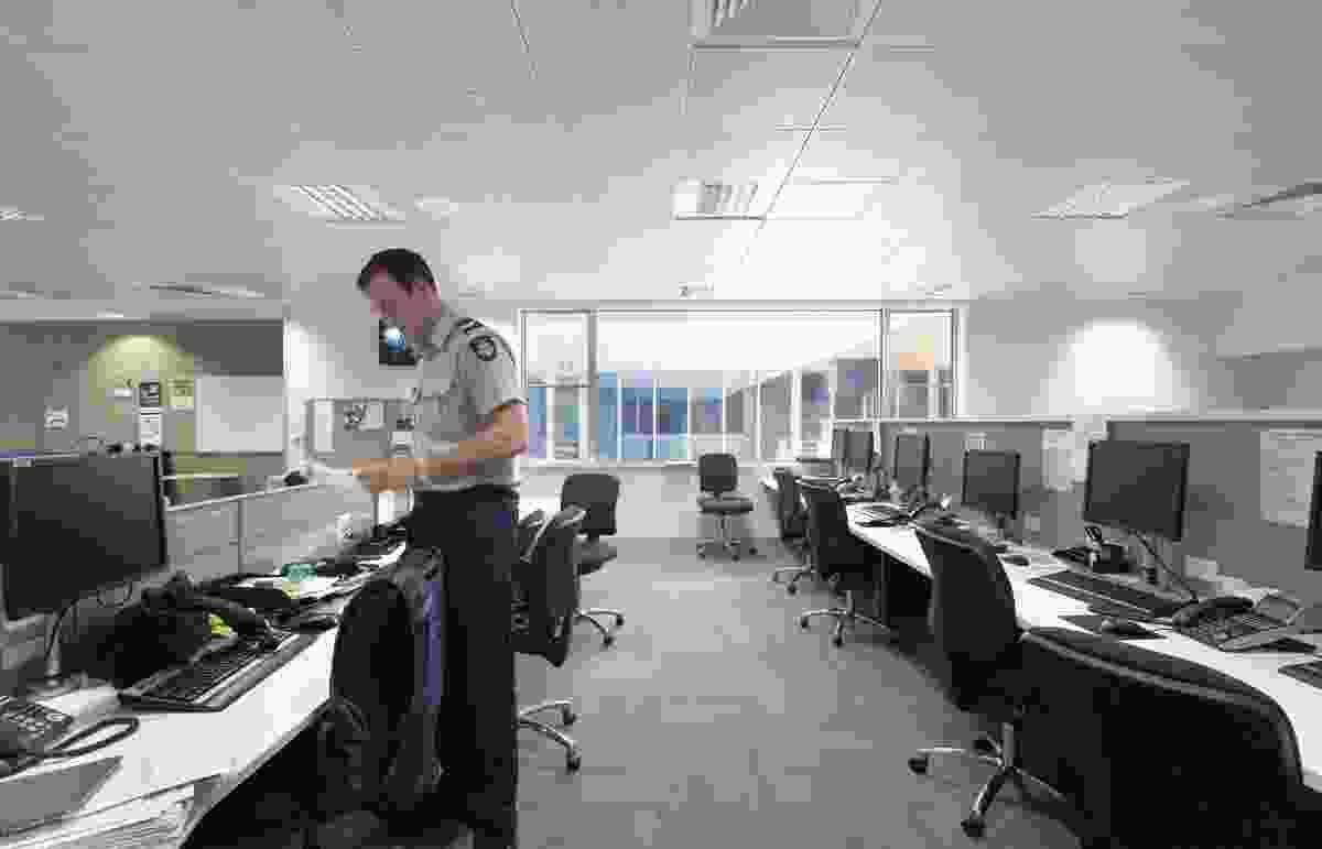 Open-plan workspaces are structured around internal courtyards.