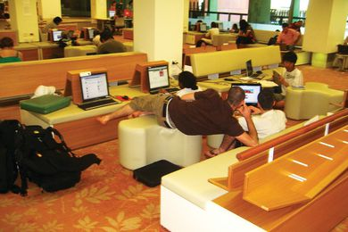 Library users connect in a common space.