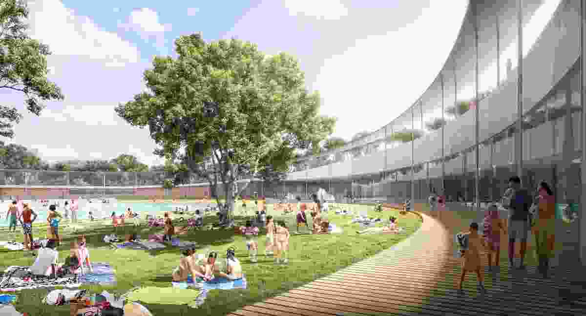 "The design for Parramatta Aquatic Centre by Grimshaw, Andrew Burges Architects and McGregor Coxall includes a ""ring"" encircling the outdoor pool, which will also act as a fence."