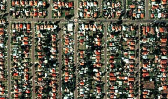 Contemporary (1999) aerial photograph of the Auburn district in western Sydney.