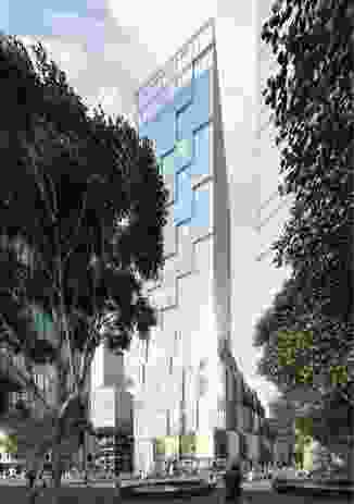 The proposed hotel tower designed by Kengo Kuma and Associates and Crone will consist of a twisting, pixelated form.