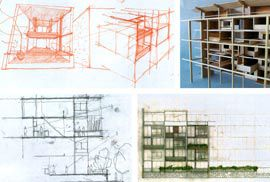 Development work for the Garden Apartments  Sketches by Shelley Penn.