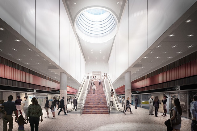 The proposed platform at Arden station to be designed by Hassell, Weston Williamson and Rogers Stirk Harbour and Partners.