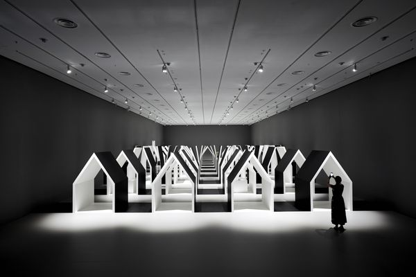 Installation view of Escher x Nendo at the National Gallery of Victoria.