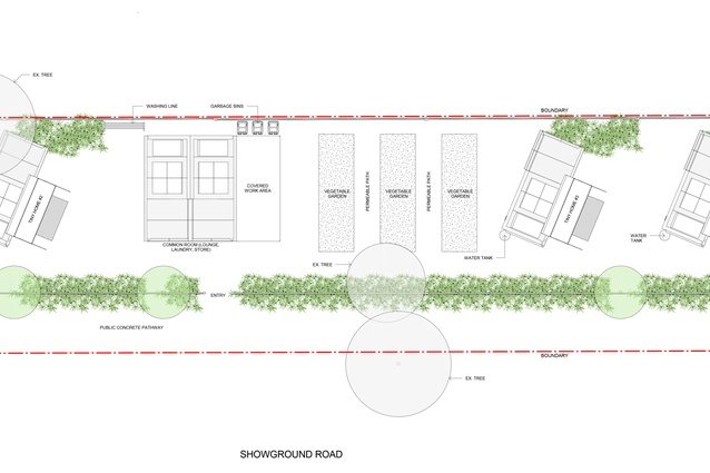 Site plan of the Tiny Homes Foundation pilot project designed by NBRS Architecture.