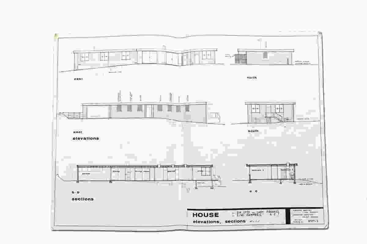 Original elevations and sections of the Frankel House.