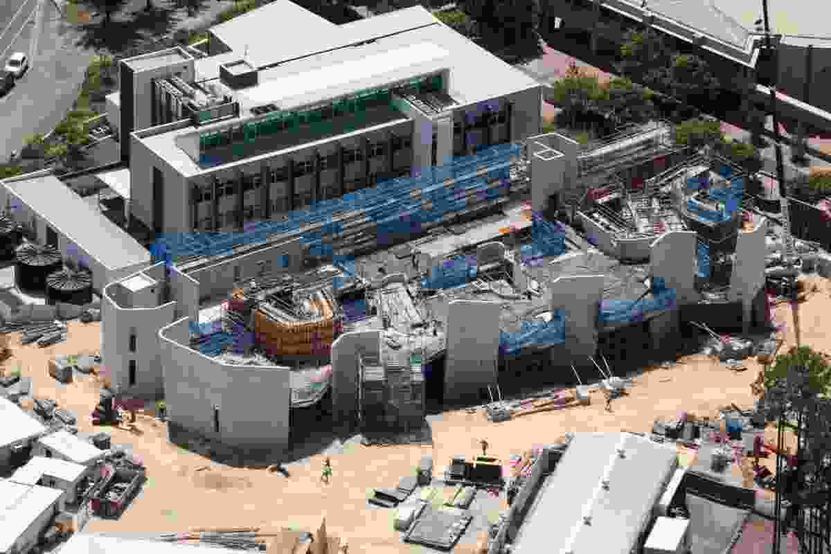 Aerial view of the Soheil Abedian School of Architecture under construction.
