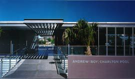 Entry to the new Andrew (Boy) Charlton Pool from the Botanic Gardens.