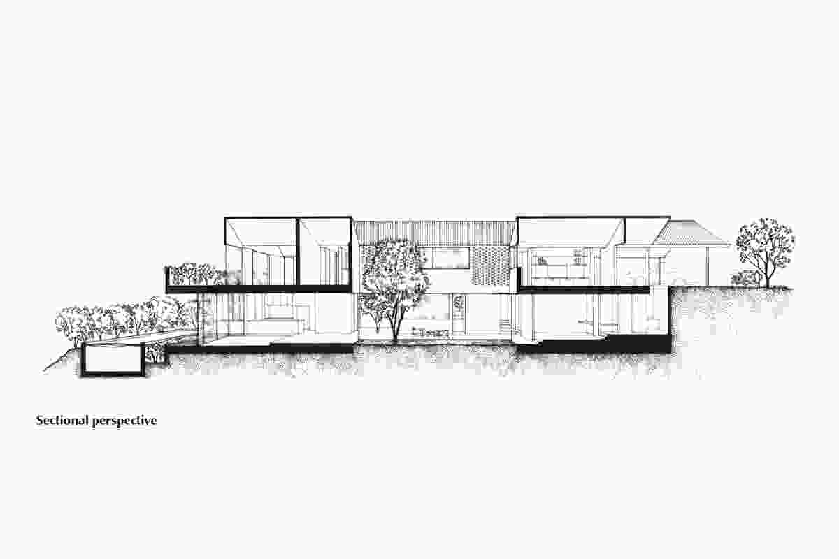 Sectional perspective of Christian Street House by James Russell Architect.