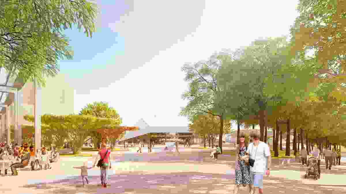 New promenade in the proposed redevelopment of Adelaide Festival Plaza designed by ARM Architecture and Taylor Cullity Lethlean.
