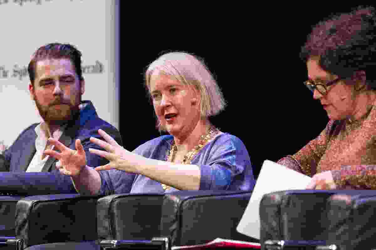 In conversation, L–R: John O'Callaghan (Idea Bombing Sydney), Rachel Healy (City of Sydney), Annabel Crabb (journalist, moderator).