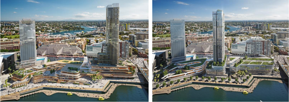 Harbourside Shopping Centre Redevelopment concept proposal by FJMT and Aspect Studios.