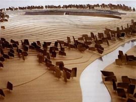 Views of the model showing the abstract striated forms of the building embedded in the landscape.