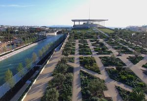 New York-based studio Deborah Nevins and Associates with the Renzo Piano Building Workshop designed a forty-acre park as part of the Stavros Niarchos Foundation Cultural Centre in Athens.