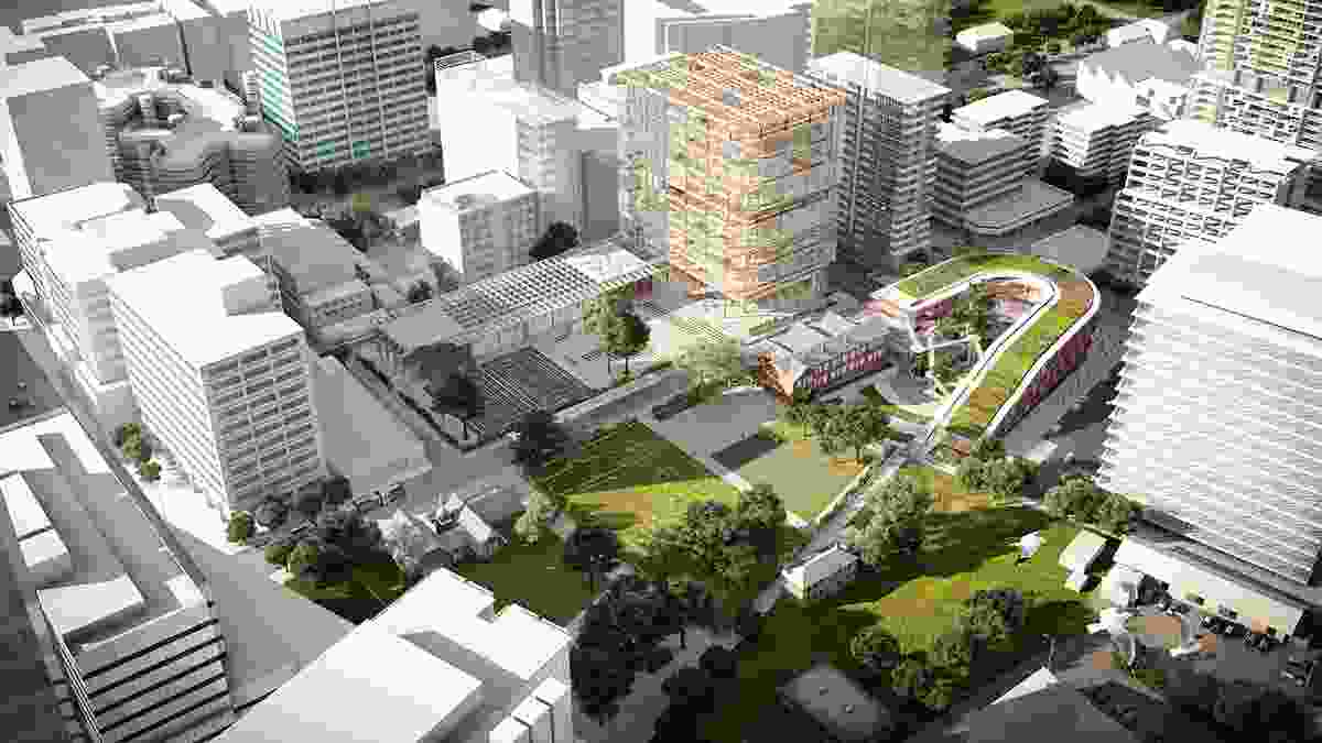 The proposed Arthur Phillip High School and Parramatta Public School designed by Grimshaw and BVN.