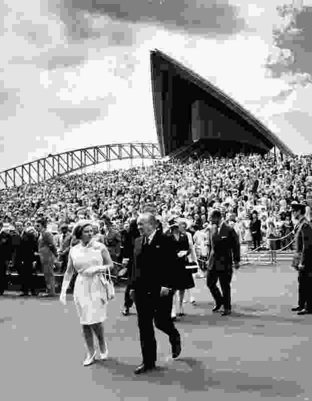 NSW premier Sir Robert Askin walks with Queen Elizabeth II at the opening of the Sydney Opera House in 1973.