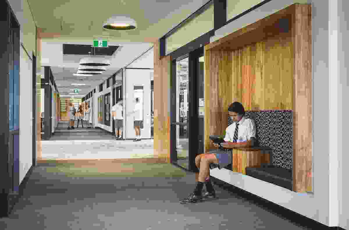 Study recesses in corridor walls are among the informal learning spaces in the New Learning Centre.