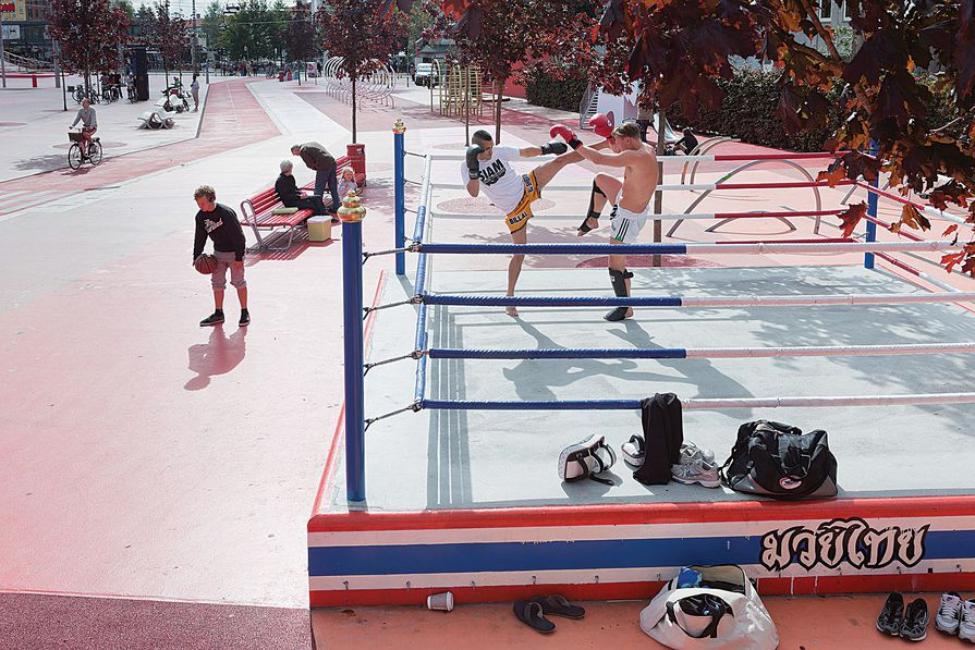 "At Superkilen a boxing ring ""cultivates conflict"" in the public realm."