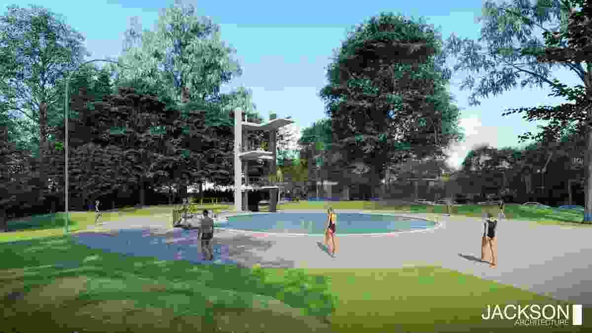 Harold Holt Swim Centre dive platform and pool by Jackson Architecture.