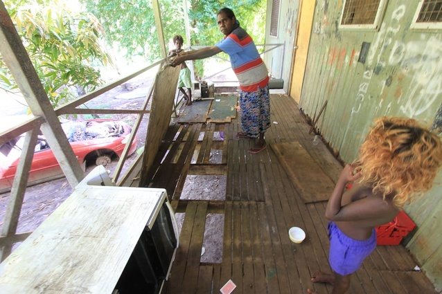 Poor design and lack of regular maintenance soon result in housing being unfit for occupation. The examples above and below are in Angurugu and Yenbakwa, East Arnhem Land.