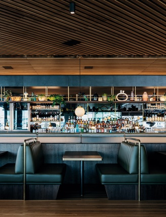 Barangaroo House's fine dining restaurant, Bea, is located on the middle level and features a luxurious bar and banquette seating.
