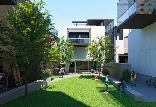 "Render of Baugruppen at WGV, Perth, designed by Spaceagency Architects. A ""live project,"" it will allow the design and construction of apartments to be initiated by buyers – a participatory process that is unprecedented in the Australian marketplace."
