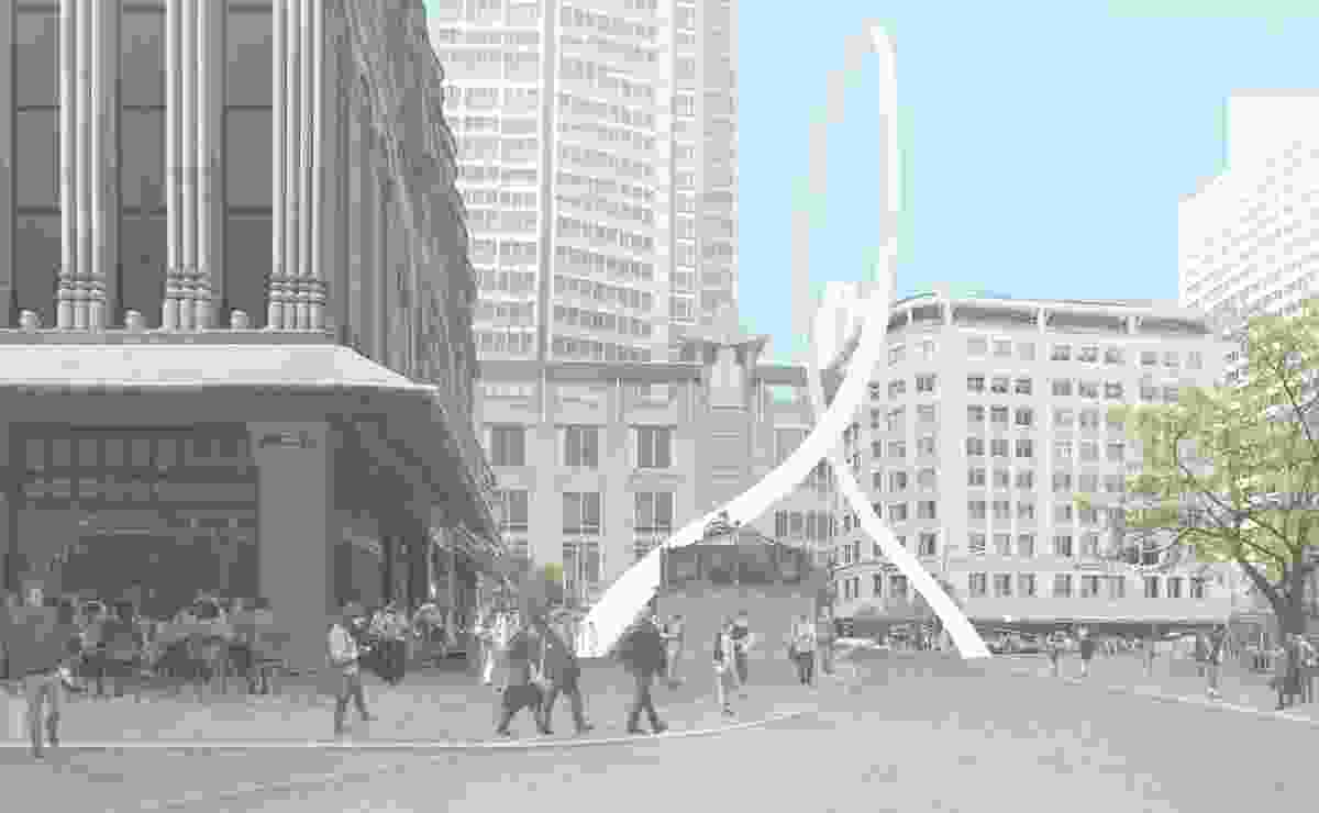 The updated design for Cloud Arch by Junya Ishigami will be built diagonally across the intersection of George and Park streets in Sydney.