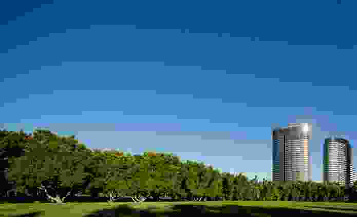 Located close to Olympic Park Station, the towers look across Bicentennial Park to central Sydney on the horizon.
