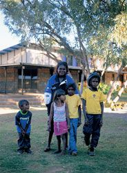 KASH is one of only two alcohol rehabilitation centres in Queensland that accommodate families. From left to right: Troyden Johnny, Jacqueline Calligan, Kevina Anderson, Tyrell Swann and Donna Daly (behind).
