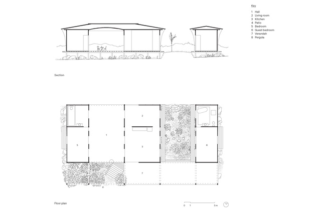 Plan and section of House with a Guest Room by Andrew Power.