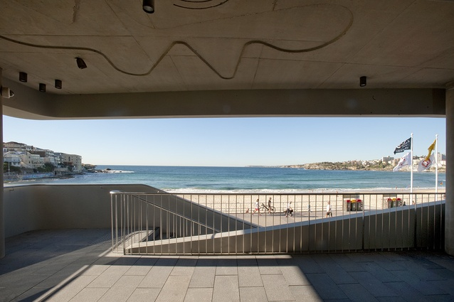 The balcony frames the horizon line from the northern tip of Ben Buckler point to Bondi Icebergs at the south.