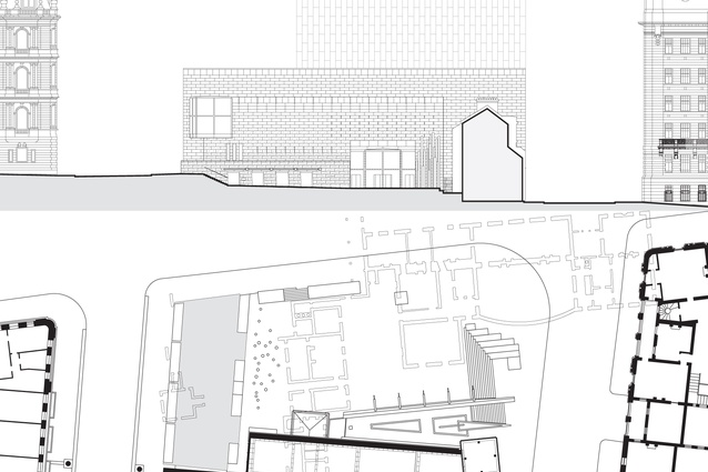 Museum of Sydney elevation and plan, from <em>Public Sydney: Drawing the City</em>.