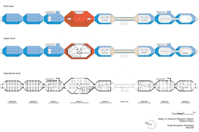 Platform plans for Halley VI Antarctic Research Station by Hugh Broughton Architects and AECOM. For a cost of GBP25.855 million, bedrooms, laboratories, office areas and energy centres are housed in 152m<sup>2</sup> standard blue modules. A special, two-storeyed central module provides a social space.