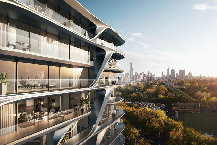 A residential tower in Melbourne designed by Zaha Hadid Architects.