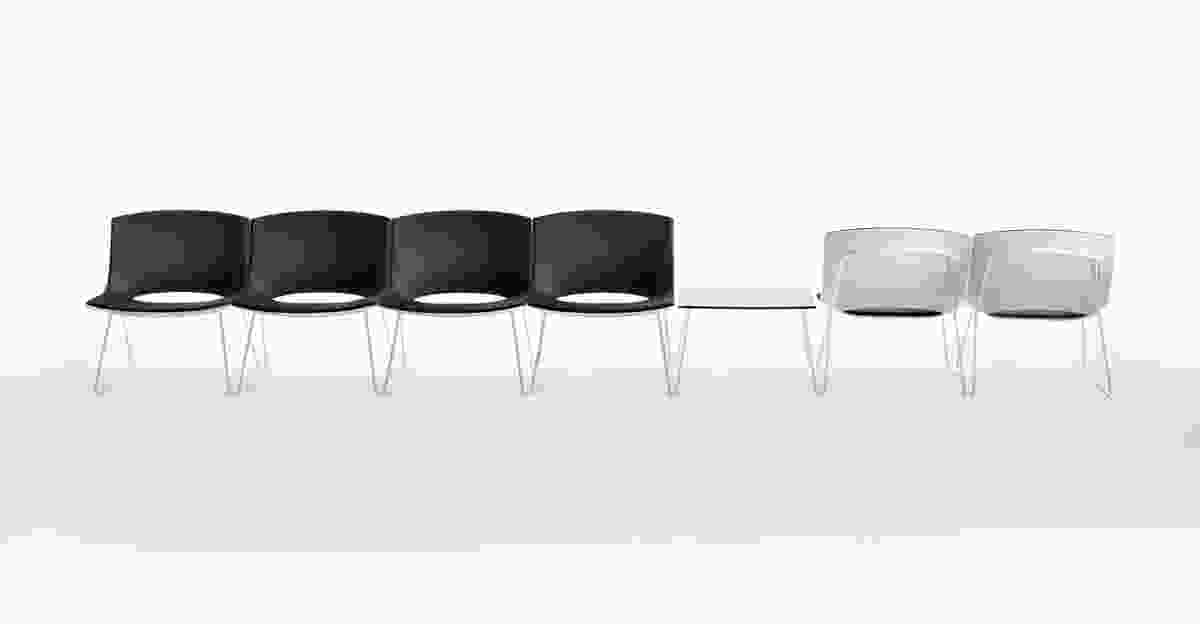Sled Chairs and occasional table from the Oh!  series by Gabriel Teixidó for Enea Contract.